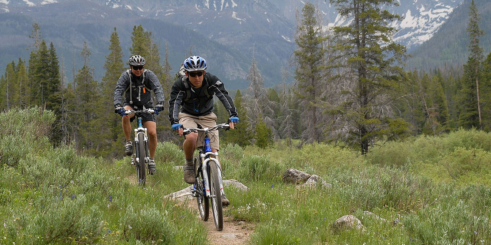 Biking in a mountain trail